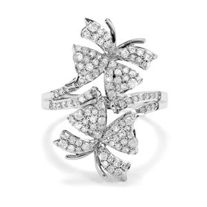 3/4ct Diamond Sterling Silver Butterfly Ring