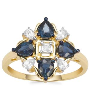 Nigerian Blue Sapphire Ring with White Zircon in 9K Gold 1.54cts