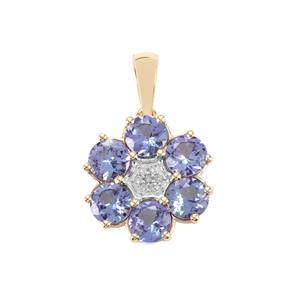 AA Tanzanite Pendant with Diamond in 10K Gold 2.63cts
