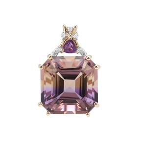 Anahi Ametrine, Ametista Amethyst Pendant with White Zircon in 9K Gold 7.33cts