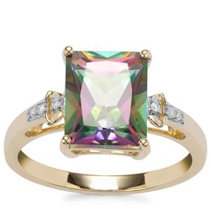 Mystic Topaz Ring with Diamond in 9K Gold 3.96cts