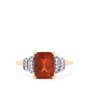 Oregon Sunstone Ring with Diamond in 18k Gold 2.28cts