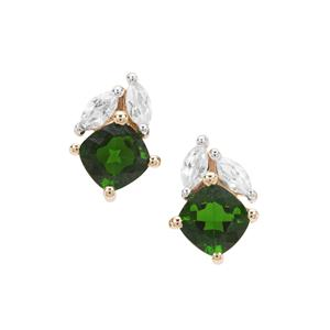 Chrome Diopside Earrings with White Zircon in 9k Gold 1.51cts