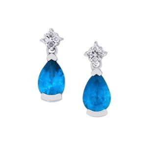Neon Apatite Earrings with White Zircon in 9K White Gold 0.88ct