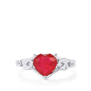 Malagasy Ruby Ring with White Zircon in Sterling Silver 2.56cts (F)