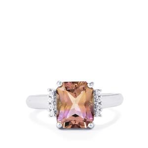 Anahi Ametrine Ring with White Zircon in Sterling Silver 3.24cts