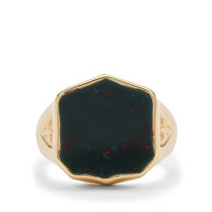 Bloodstone Ring in Gold Plated Sterling Silver 6.85cts