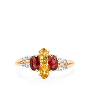 Amarelo Beryl, Red Spinel Ring with White Zircon in 10K Gold 1.12cts