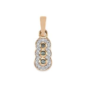 Cats Eye Alexandrite Pendant with White Zircon in 9K Gold 0.23ct