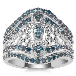 Blue Diamond Ring in Sterling Silver 1ct