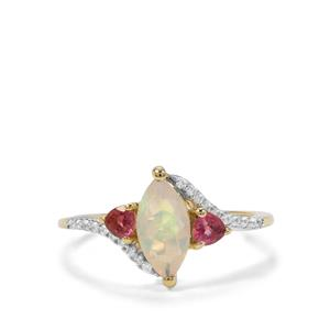 Ethiopian Opal, Oyo Pink Tourmaline Ring with White Zircon in 9K Gold 0.98ct