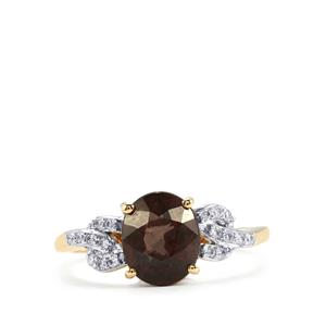 Tsivory Colour Change Garnet Ring with Diamond in 18K Gold 2.96cts