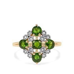 Chrome Diopside & Diamond 9K Gold Ring ATGW 1.38cts