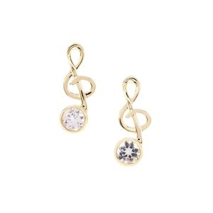 Nigerian Morganite Treble Clef Note Earrings in 9K Gold 1.21cts