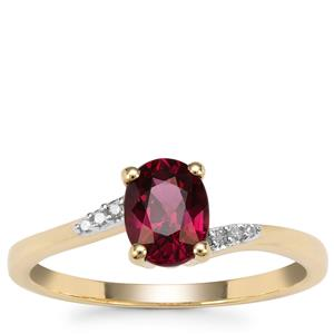 Comeria Garnet Ring with Diamond in 9K Gold 1.26cts