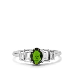 Chrome Diopside & White Zircon Sterling Silver Ring ATGW 1.28cts