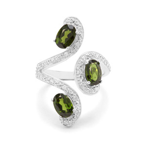 Chrome Diopside & White Zircon Sterling Silver Ring ATGW 2.65cts
