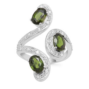 Chrome Diopside Ring with White Zircon in Sterling Silver 2.65cts
