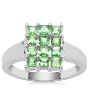Tsavorite Garnet Ring in Sterling Silver 1.20cts