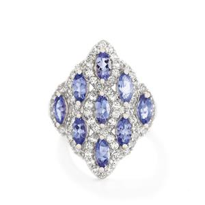 AA Tanzanite & White Topaz Sterling Silver Ring ATGW 3.65cts