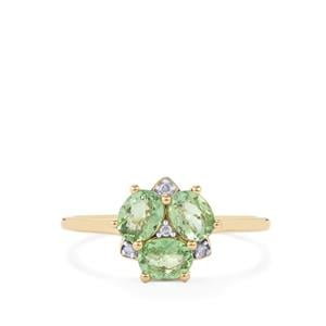 Mozambique Mint Tourmaline & Diamond 10K Gold Ring ATGW 0.89cts