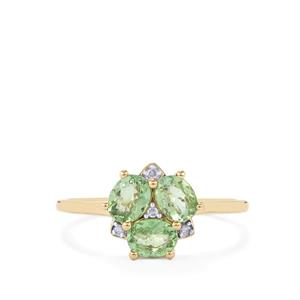 Mozambique Mint Tourmaline Ring with Diamond in 10K Gold 0.89ct