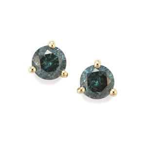 Blue Diamond Earrings in 10K Gold 0.37ct