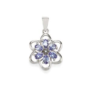 AA Tanzanite Pendant with Blue Diamond in Sterling Silver 1.23cts