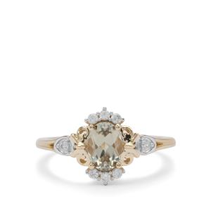 Csarite® Ring with White Zircon in 9K Gold 1cts