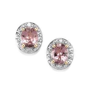 Mahenge Pink Spinel Earrings with Diamond in 10K Gold 0.75ct