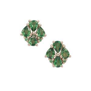 Tsavorite Garnet Earrings in 9K Gold 1.25cts