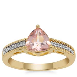 Galileia Topaz Ring with White Zircon in Gold Plated Sterling Silver 1.41cts