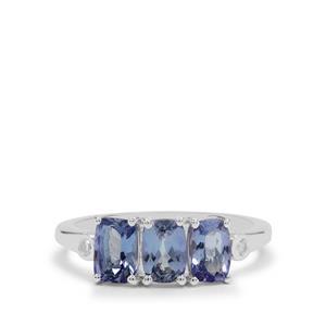 Bi Colour Tanzanite & White Zircon Sterling Silver Ring ATGW 1.80cts