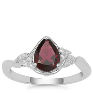 Octavian Garnet Ring with White Zircon in Sterling Silver 1.38cts