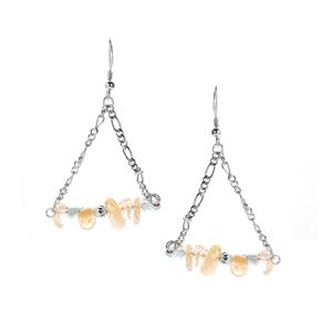 Apatite Earrings with Citrine in Rhodium Flash Sterling Silver 23.10cts