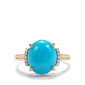 Sleeping Beauty Turquoise & Diamond 9K Gold Ring ATGW 3.90cts