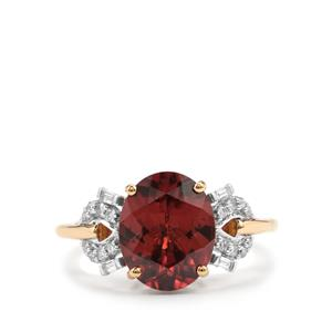 Zanzibar Zircon & Diamond 18K Gold Lorique Ring MTGW 4.97cts
