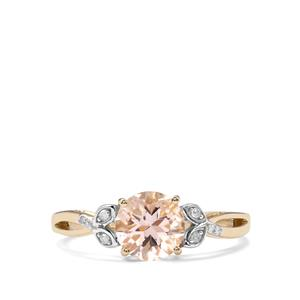Alto Ligonha Morganite Ring with Diamond in 10K Gold 1.13cts
