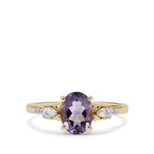 Montezuma Blue Quartz Ring with White Zircon in 9K Gold 1.35cts