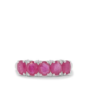 Kenyan Ruby Ring with White Zircon in Sterling Silver 2.40cts