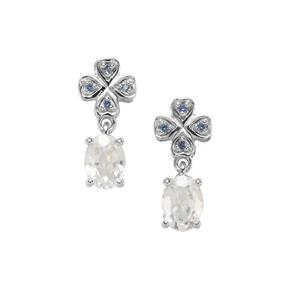 Singida Tanzanian Zircon Earrings with Sri Lankan Sapphire in 9K White Gold 2.49cts