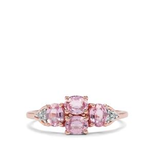 Sakaraha Pink Sapphire & Diamond 9K Rose Gold Ring ATGW 1.30cts