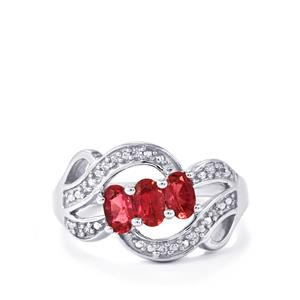 Cruzeiro Rubellite Ring with White Zircon in Sterling Silver 0.77cts