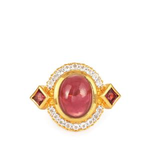 Rhodolite Garnet Ring with White Topaz in Gold Plated Sterling Silver 3.6cts