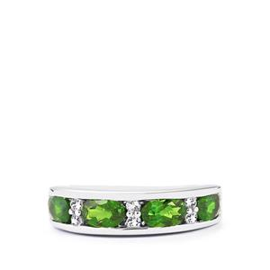 Chrome Diopside Ring with White Topaz in Sterling Silver 2.11cts
