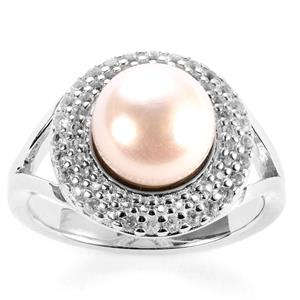Kaori Cultured Pearl Ring with White Topaz in Sterling Silver (8.50mm)