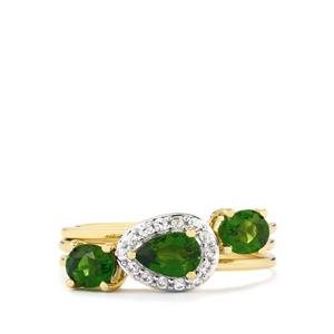 Chrome Diopside Set of 3 Stacker Rings with White Zircon in 9K Gold 1.36cts
