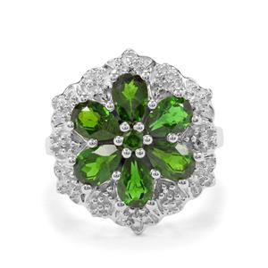 Chrome Diopside & White Zircon Sterling Silver Ring ATGW 3cts