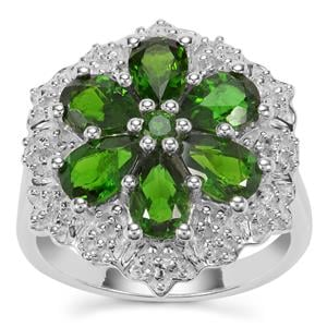 Chrome Diopside Ring with White Zircon in Sterling Silver 3cts