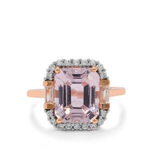 Kolum Kunzite & White Zircon 9K Rose Gold Ring ATGW 6.40cts